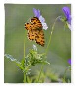 Speckled Yellow Moth On Pansy Wild Flower Fleece Blanket