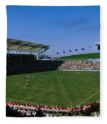 Spectators Watching A Soccer Match, Usa Fleece Blanket