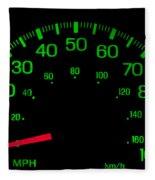 Speedometer On Black Isolated Fleece Blanket