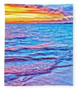 Spencer Beach Sunset Fleece Blanket