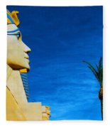 Sphinx And Palm Trees Las Vegas Fleece Blanket