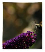 Sphinx Moth On Butterfly Bush Fleece Blanket