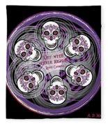 Spinning Celtic Skulls In Purple Fleece Blanket