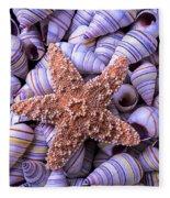 Spiral Shells And Starfish Fleece Blanket