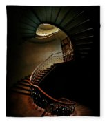 Spiral Staircase In Green And Red Fleece Blanket