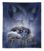 Spirit Of The Blue Fox Fleece Blanket