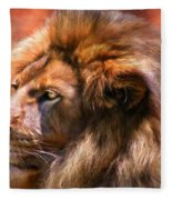 Spirit Of The Lion Fleece Blanket