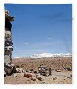 Spiritual Cairn In The Peruvian Altiplano Fleece Blanket
