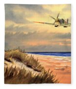Spitfire Mk9 - Over South Coast England Fleece Blanket
