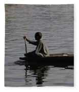 Splashing In The Water Caused Due To Kashmiri Man Rowing A Small Boat Fleece Blanket
