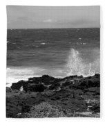 Splashing On The Shore Fleece Blanket