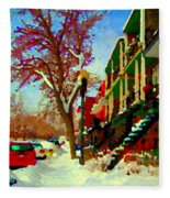 Splendor And Colors Of Quebec Winters Verdun Montreal Urban Street Scene Carole Spandau Fleece Blanket
