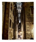 Split Cathedral From The Temple Of Jupiter At Night Croatia Fleece Blanket