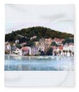 Split Harbour Croatia Fleece Blanket
