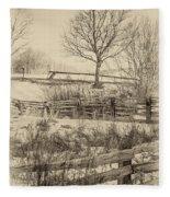 Split Rail Winter Sepia Fleece Blanket