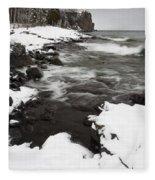 Split Rock Lighthouse Winter 17 Fleece Blanket