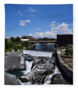 Spokane Falls And Riverfront Fleece Blanket