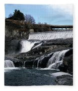 Spokane Falls At Low Tide Fleece Blanket