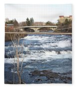 Spokane Falls In Winter Fleece Blanket