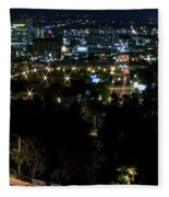 Spokane Washington Skyline At Night Fleece Blanket