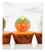 Spooks Cup Cakes On White Background Fleece Blanket