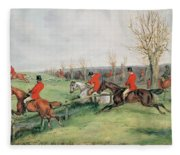 Sporting Scene, 19th Century Fleece Blanket