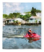 Sports - Man On Jet Ski Fleece Blanket