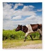 Calf Walking In Natural Landscape  Fleece Blanket