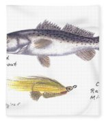 Spotted Seatrout And Rattlin' Minnow Fly Fleece Blanket