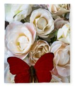 Spray Roses And Red Butterfly Fleece Blanket