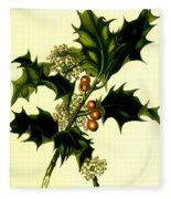 Sprig Of Holly With Berries And Flowers Vintage Poster Fleece Blanket