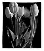 Spring Beauties Bw Fleece Blanket