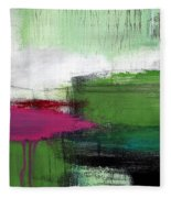 Spring Became Summer- Abstract Painting  Fleece Blanket by Linda Woods