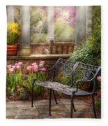 Spring - Bench - A Place To Retire  Fleece Blanket
