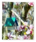 Spring - Birdhouse In Magnolia Fleece Blanket