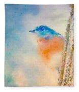 Spring Blues - Digital Watercolor Fleece Blanket