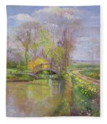 Spring Bridge Fleece Blanket
