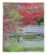 Spring Color Over Japanese Garden Bridge Fleece Blanket