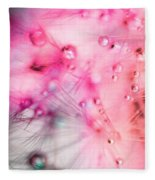 Spring - Dandelion With Water Droplets Abstract Fleece Blanket