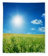 Spring Field With Flowers And Blue Sky Fleece Blanket