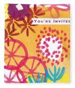 Spring Floral Invitation- Greeting Card Fleece Blanket