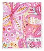 Spring Flowers Thank You Card Fleece Blanket