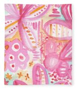 Spring Flowers- Watercolor Painting Fleece Blanket