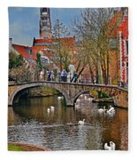 Spring In Bruges Fleece Blanket
