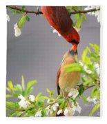 Cardinal Spring Love Fleece Blanket