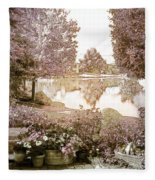 Spring Magical Fairyland Lake Fleece Blanket