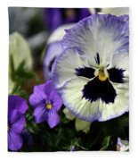 Spring Pansy Flower Fleece Blanket