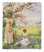 Spring   Picking Flowers Fleece Blanket