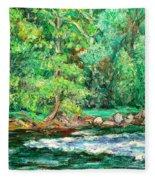 Spring Rapids On The New River Fleece Blanket
