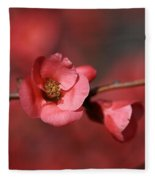 Spring Richness - Flowering Quince Fleece Blanket